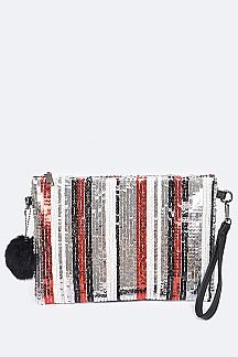 Sequins Strippy Pompom Convertible Clutch