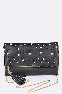 Pearls & Perforated Flower Folding Clutch