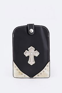 Crystal Cross Leather Swing Bag