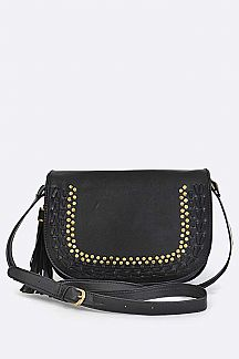 Lace & Studs Leather Crossbody Bag