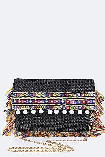 Fringe PomPoms & Strings Envelope Clutch
