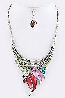 Metallic Leaf Crystal Collar Necklace Set