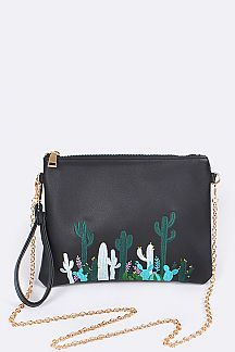 Cactus Embroidery Convertible Pouch