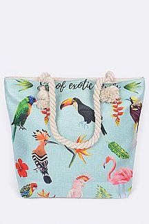 Exotic Birds Print Fashion Tote