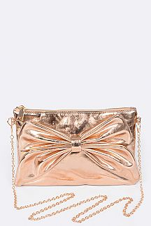 Metallic Bow Accent Convertible Clutch