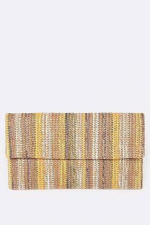 Rainbow Straw Clutch Bag