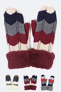 Plush Trim Chevron Knit Mitten