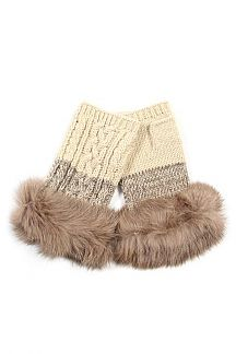 Soft Fur Cable Knit Fingerless Gloves