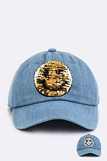 Sequins Reversible Emoji Denim Cap