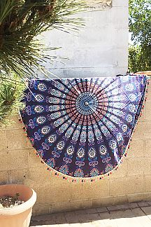Mandala Print Cotton Tassel Picnic Throw