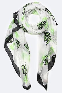 Paradise Island Palm Tree Printed Fashion Scarf