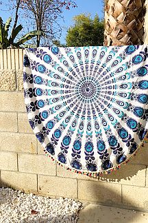Peacock Print Cotton Tassel Picnic Throw