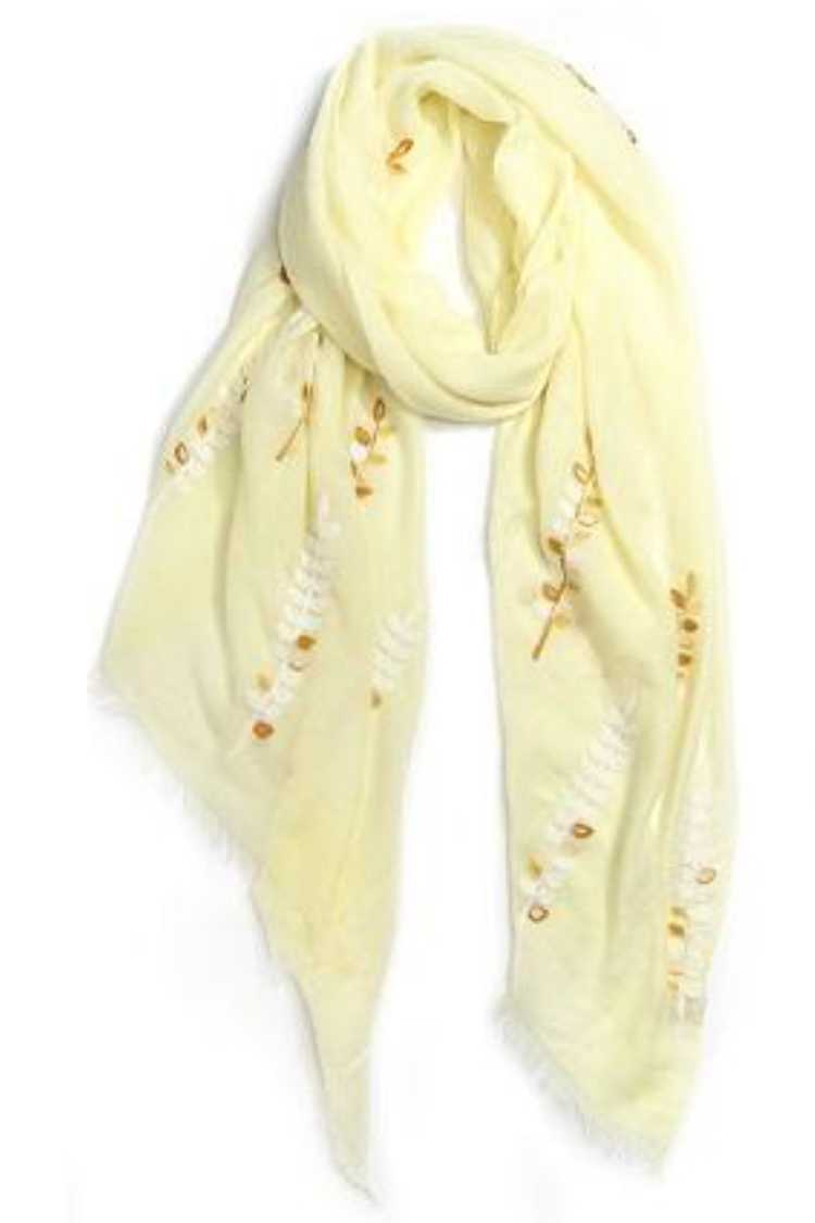 Leaf Embroidery Fashion Scarf