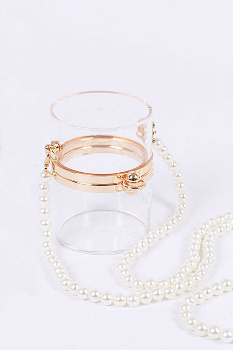 Clear Cylinder Pearl Strap Swing Clutch