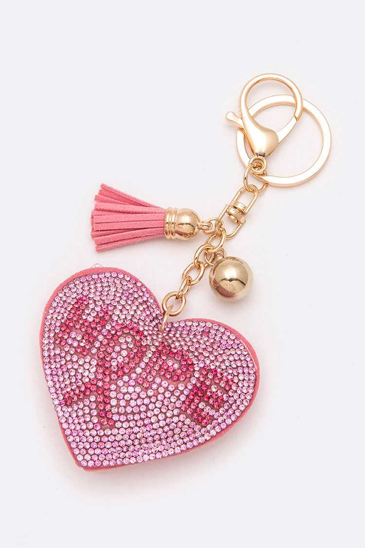 HOPE Pink Ribbon Crystal Heart Key Chain