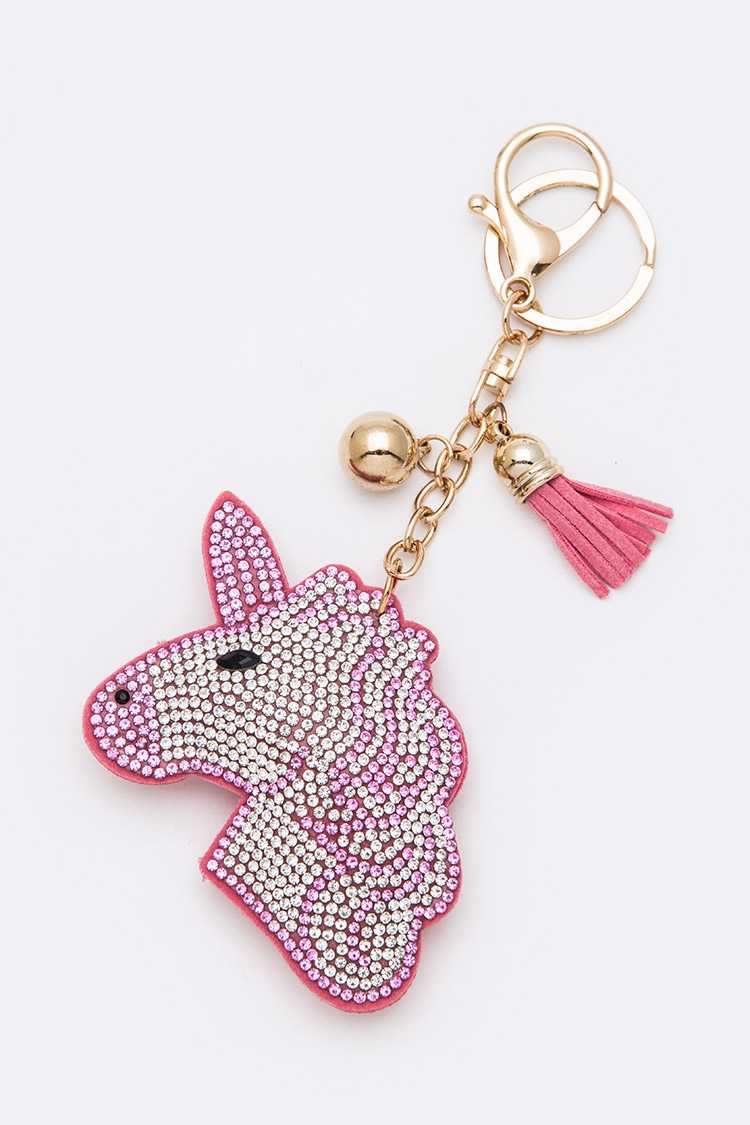 Crystal Unicorn Puffy Key Chain