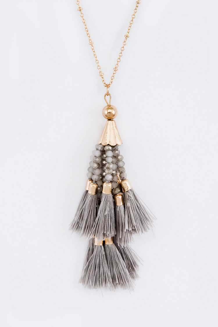 Mix Metallic Tassel Fringe Beads Pendant Necklace Set