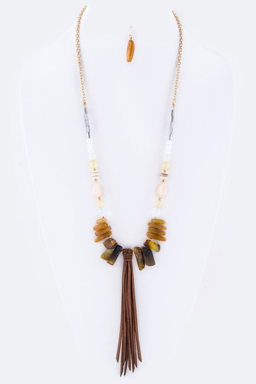 Mix Precious Stone & Suede Tassel Necklace set