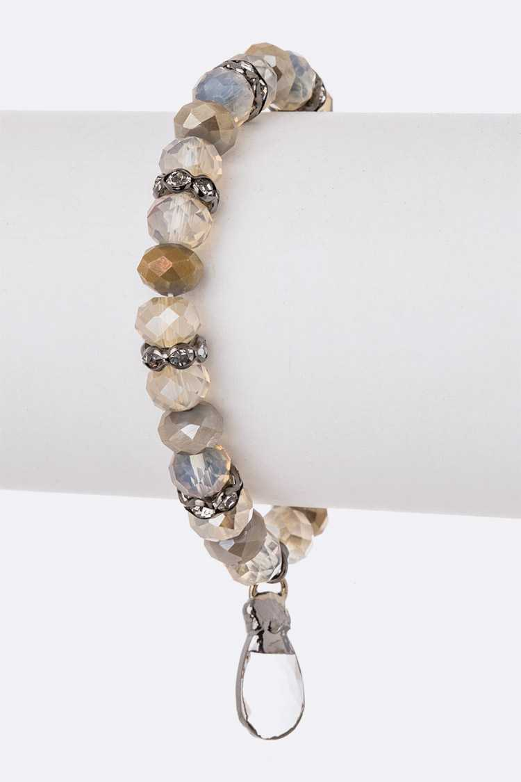 Crystal Drop Genuine Stone Stretch Bracelet